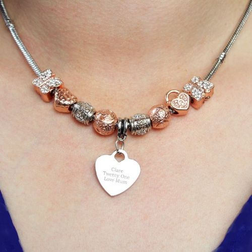 Personalised Rose Gold Charm Necklace - Any Message